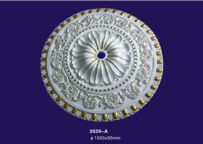 Large Size Polyurethane Ceiling Medallion / Light Medallion For House Decoration