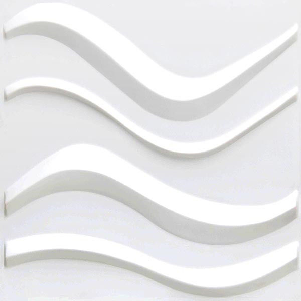 PVC Material 3D Plastic Wall Tiles , White Interior 3D Wave Wall Panels