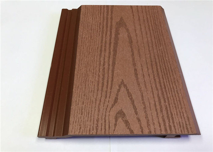 Lightweight Exterior WPC Wall Cladding , Outdoor Wood Grain Recycled Plastic Cladding